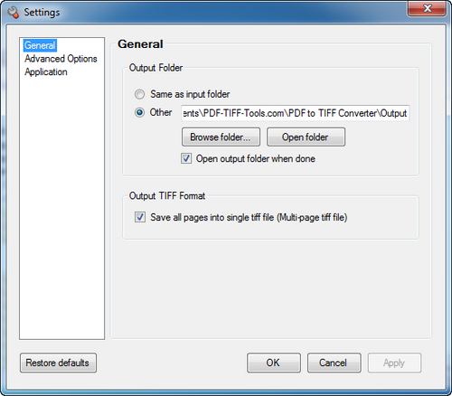 PDF to TIFF Converter Option 1